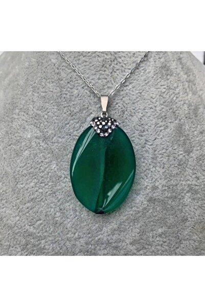İMRAN DOĞALTAŞ Doğal Oval Kesim Yeşil Akik Taşı Doğal Taş Kolye - Imrkl00052