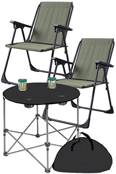 Yekta Home Texstar Kamp Seti Katlanır Piknik Sandalyesi + Bez Masa 2+1 Yeşil