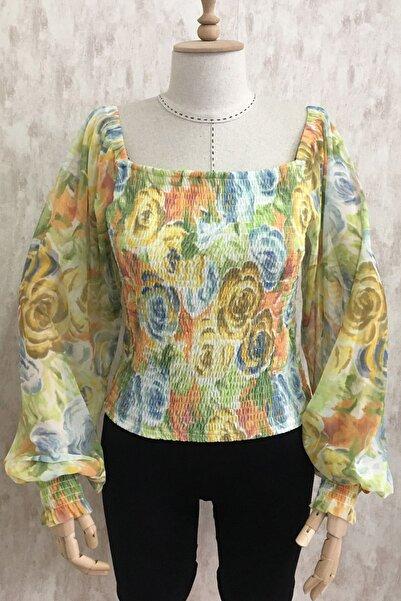 Trend Women Fashion Kadın Giyim Balon Kol Çiçek Desen Kayık Yaka Şifon Bluz