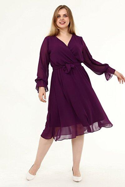Moday Uzun Kol Büyük Beden Şifon Elbise 10a-1820