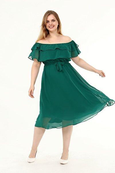 Moday Karmen Yaka Büyük Beden Şifon Elbise 34e-1825