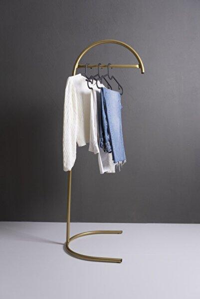 Fec Reklam Metal Ayaklı Konfeksiyon Askılığı Gold Elbise Askılık Yarım Ay