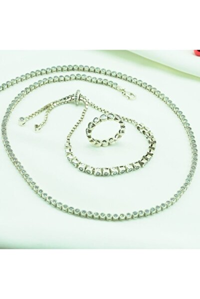 HAS GÜMÜŞ Kadın Beyaz Su Yolu Zirkon Taşlı Gümüş Set 16