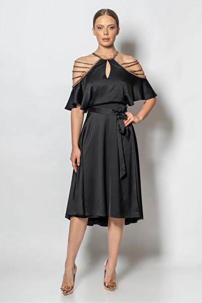 RENGIN Kolları Şerit Taşlı Saten Elbise