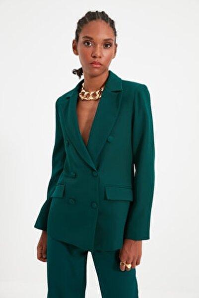 Yeşil Düğme Detaylı Blazer Ceket TWOSS21CE0137