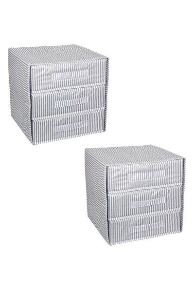 Keven Home 2 Adet - Üç Bölmeli Çekmece - Çok Amaçlı Çekmece - Çorap & Iç Çamaşır Vb Organizeri 32x32x32cm - Gri