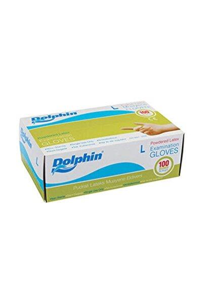 Dolphin Beyaz Lateks Eldiven Pudralı Large Beyaz 100lü