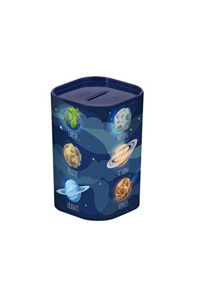 Herevin Kumbara Gezegen Desenli Plastik Açılır Kapaklı 12 X 7,5 X 7,5cm 161495-003