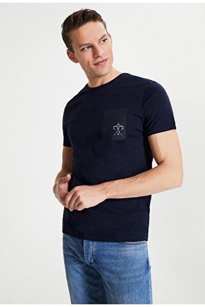 Damat Damat Lacivert Çizgili Baskılı T-shirt