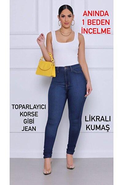 sinemstyle Kadın Büyük Beden Likralı Orta Mavi Kot Pantolon