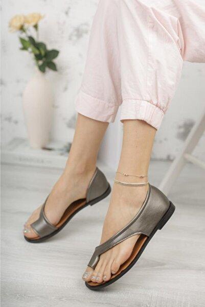 Moda Frato Kadın Gümüş Parmak Arası Sandalet