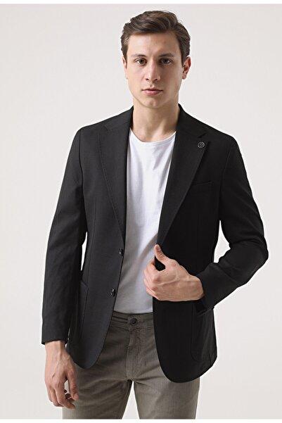 Damat Slim Fit Siyah Kumaş Ceket