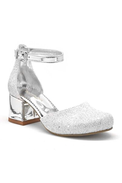 Sarıkaya Kız Çocuk Beyaz Sedef Kalın Topuklu Topuklu Ayakkabı