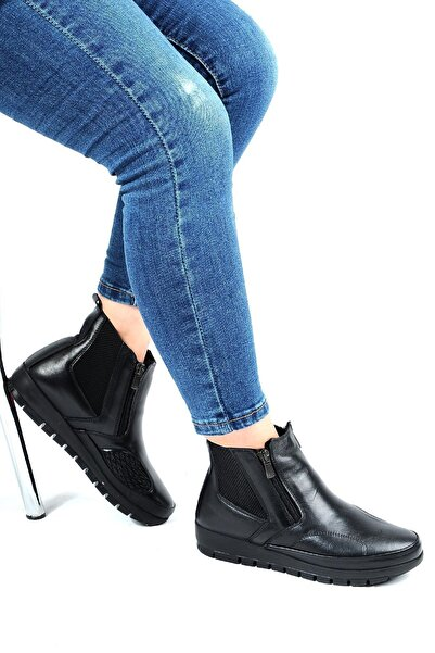 Bulldozer 220718 Siyah %100 Deri Kışlık Kadın Bot Ayakkabı