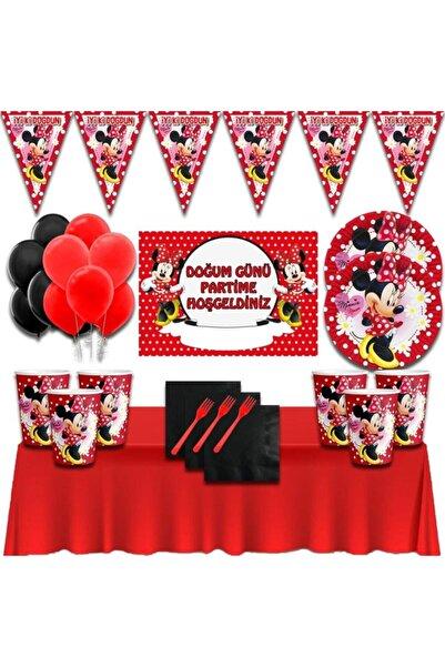 Minnie Mouse Afişli Kırmızı 24 Kişilik Doğum Günü Parti Süsleri Malzemeleri Seti