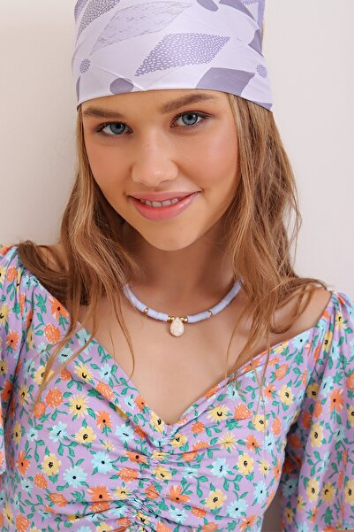 Trend Alaçatı Stili Kadın Lila Sedef Taşlı Fimo Kolye ALC-A2375