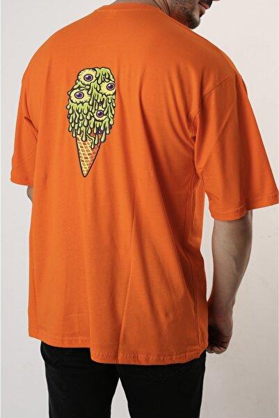 mandbu Turuncu Basic Oversize Bisiklet Yaka Kısa Kollu T-shirt