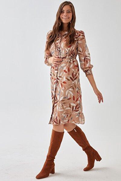 Chima Yaprak Desenli Elbise