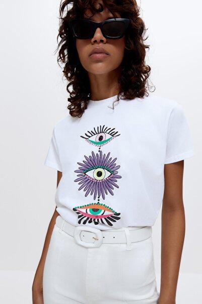 Uterqüe Işlemeli Grafik Baskılı T-shirt