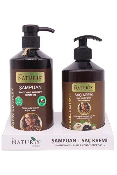 Ilgaz Naturix Organix 2'li 600 Ml Doğal Keratin Bakım Şampuan Natural Şampuan 500 Ml Siyah Sarımsak Saç Kremi