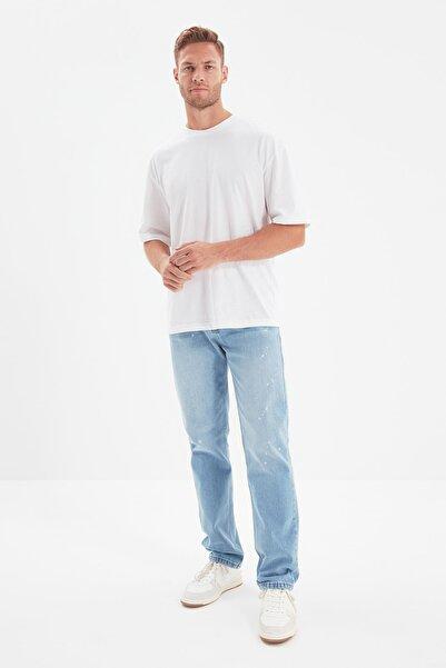 TRENDYOL MAN Mavi Erkek Regular Fit Sıçratma Efektli Jeans TMNAW22JE0052