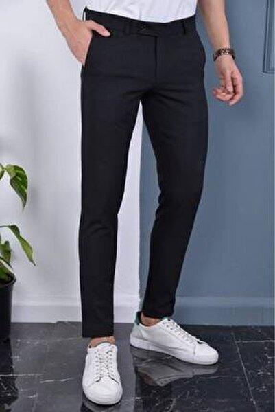 Erkek Siyah Italyan Kesim Slimfit Kumaş Pantolon