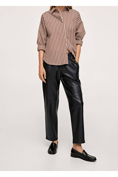 MANGO Woman Kadın Siyah Deri Görünümlü Beli Elastik Pantolon