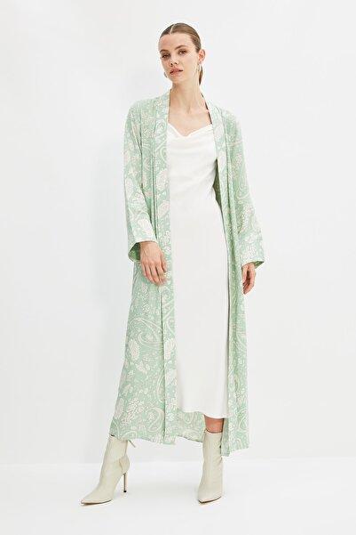 Trendyol Modest Mint Baskılı Kuşaklı Tesettür Kimono & Kaftan TCTSS21KK0002