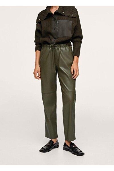 MANGO Woman Kadın Zeytin Yeşili Deri Görünümlü Beli Elastik Pantolon