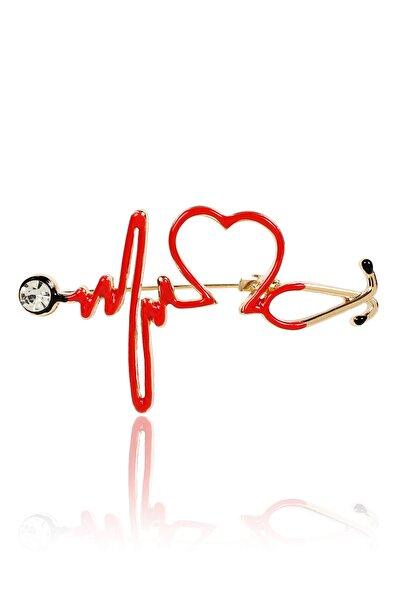 Pelin Aksesuar Kırmızı Steteskop Doktor Broş