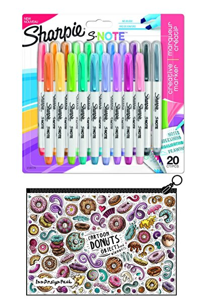Sharpie Snote Kesik Uçlu Kreatif Markör 20 li Set + Boyanabilir Kalem Kutu Donuts