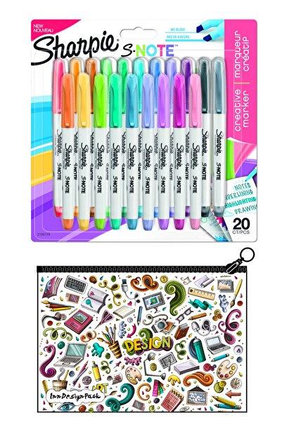 Sharpie Snote Kesik Uçlu Kreatif Markör 20 Li Set + Boyanabilir Kalem Kutu Design
