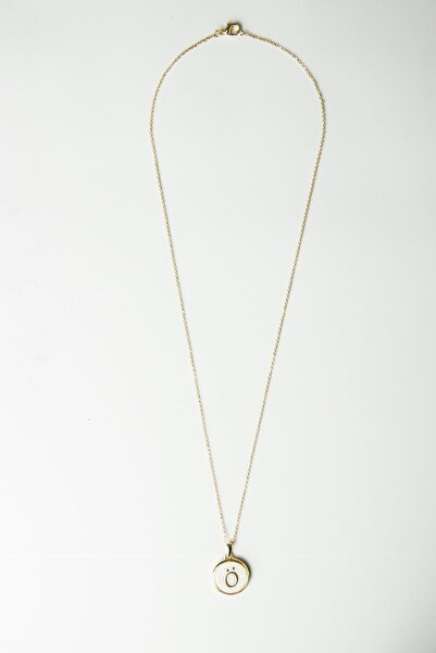 Modex Gold Beyaz Sedefli Harf Kolye
