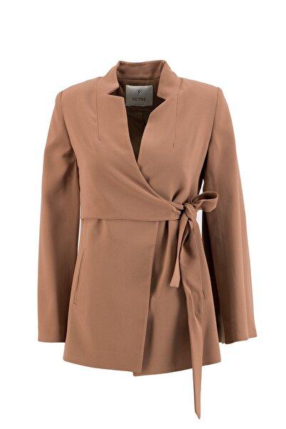 Setre Kadın Bisküvi Kruvaze Pelerin Ceket
