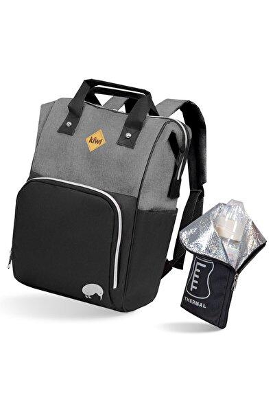 Kiwi T-bag Anne Bebek Sırt Bakım Çantası Siyah