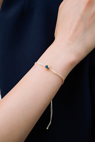 Tunaboylu Diamond Altın 6mm Nazar Boncuklu Çeyrek Yılan Örgü Ekru İp Bileklik