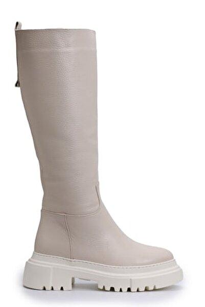 Bej Kadın Deri Çizme