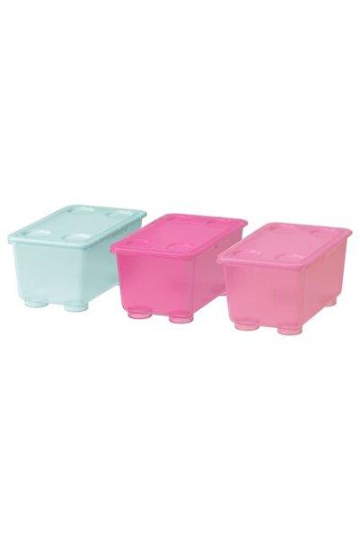 IKEA 3 Parça Kapaklı Saklama Kutuları Meridyendukkan Tatlı Pembe-turkuaz Renk Düzenleme Kutusu 3lü