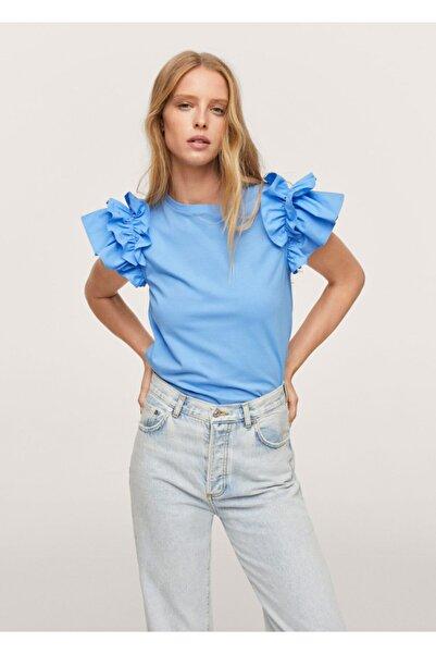 MANGO Woman Kadın Gök Mavisi Kolları Fırfırlı Tişört
