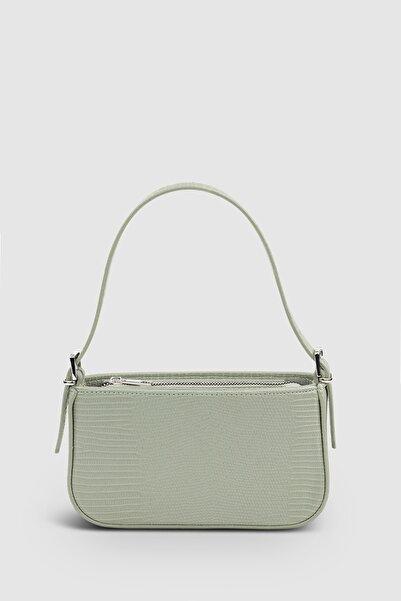 Housebags Kadın Tokalı Yeşil Baguette Çanta 208