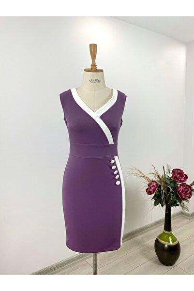 Hom Fashion Kadın Sıfır Kol Elbise Mor