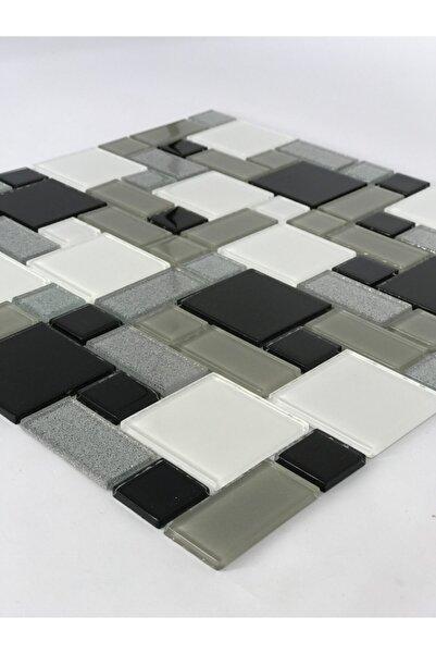 Orient Mutfak,banyo,zemin Için Siyah Beyaz Gri Mıx Kristal Mozaik
