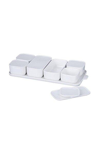 ACAR Beyaz 7 Li Porselen Kapaklı Kahvaltılık