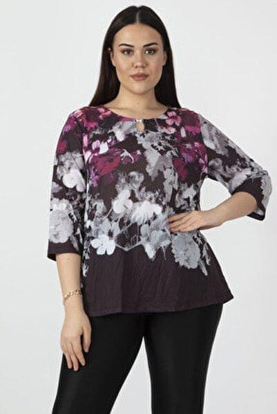 Kadın Renkli Yaka Detaylı Renkli Bluz 65N27305