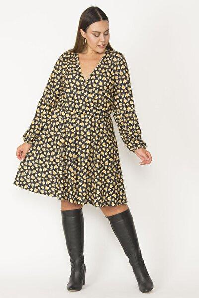 Şans Kadın Siyah Anvelop Yakalı Kol Ağzı Ve Beli Lastik Detaylı Elbise 65N27422