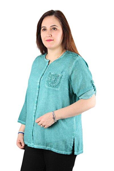 FİERTE Kadın Büyük Beden Gömlek Mnsrb0072 Yuvarlak Yaka Cep Detay Pamuk Otantik Etnik Turkuaz Lacive