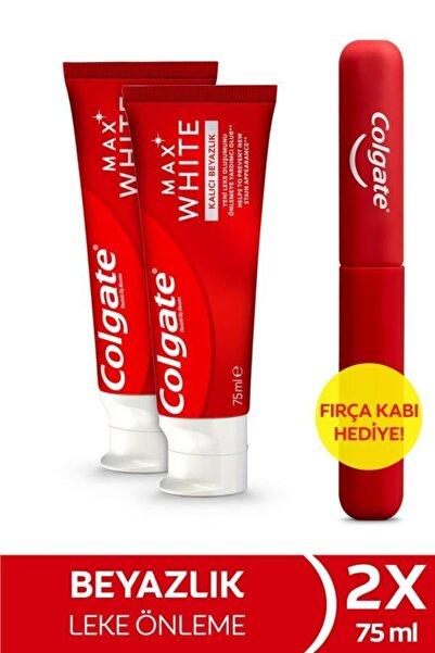 Colgate Max White Kalıcı Beyazlık Beyazlatıcı Diş Macunu 75 Ml X 2 Adet + Fırça Kabı Hediye