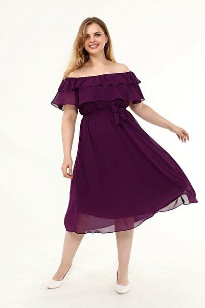 Moday Karmen Yaka Büyük Beden Şifon Elbise 30y-1824