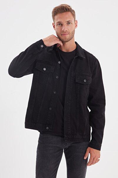 TRENDYOL MAN Siyah Erkek Regular Fit Basic Denim Ceket TMNAW22CE0019