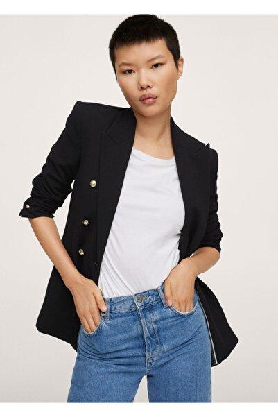 MANGO Woman Kadın Siyah Kruvaze Kesim Düğmeli Blazer Ceket